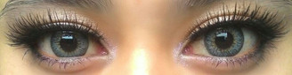 Puffy Grey circle lenses on dark eyes (Sweety brand Korea)
