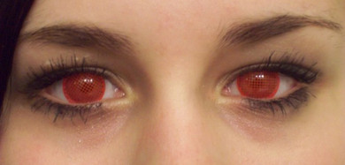 Red mesh special effects contact lenses