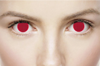 Red screen crazy contact lenses