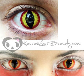 Red and yellow lizard / slit-pupil effect costume contact lenses