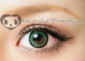Closeup on brown eye, Angel Green 14.2mm circle lenses by Geo.