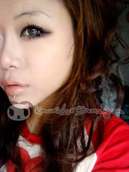 Model photo, CM835 Angel Grey 14.2mm circle lenses by Geo.