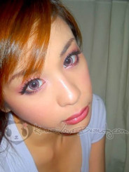 Nudy Pink CH627 circle lenses on brown eyes and flash lighting.