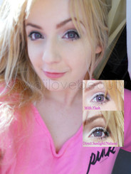 Geo Nudy Pink 14.2mm circle lenses on blue eyes.