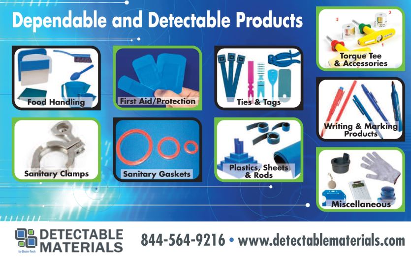 Detectable materials for the food processing industry