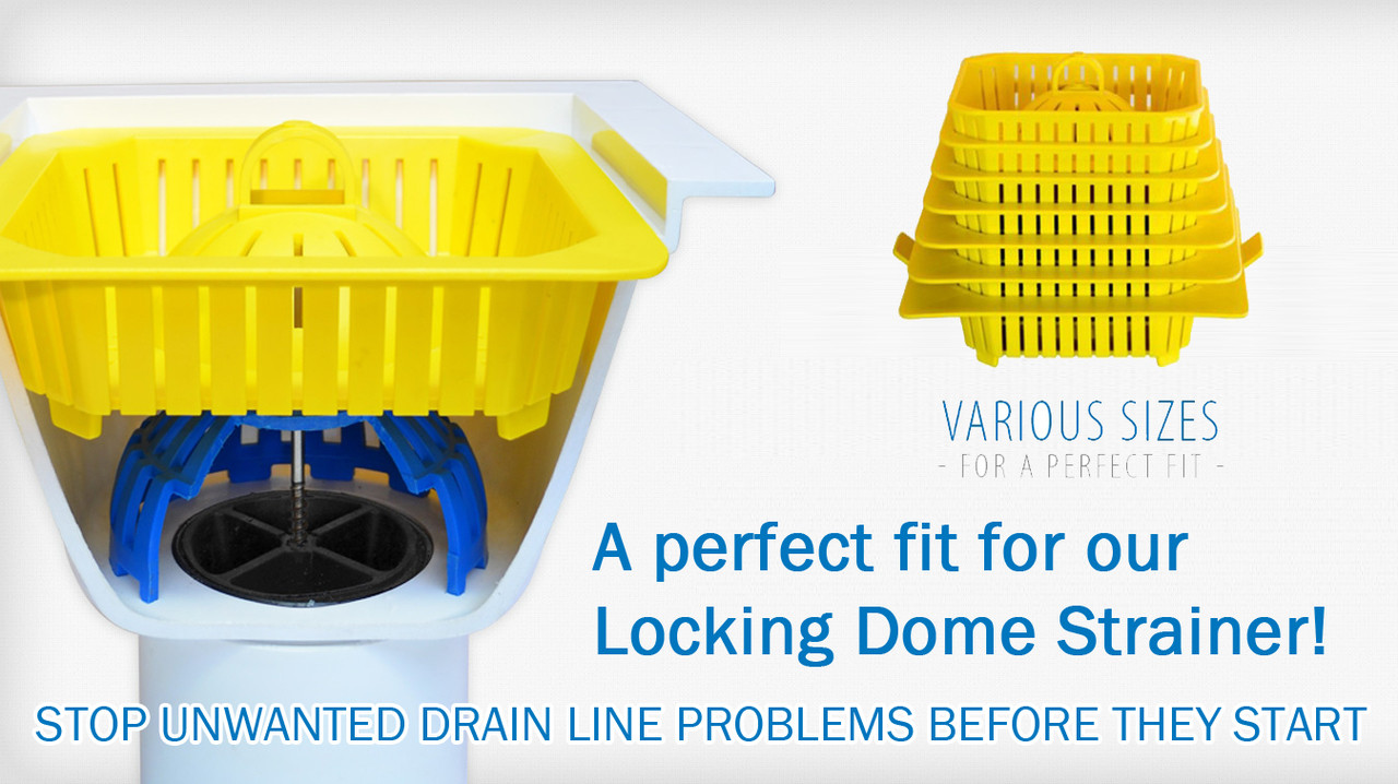 Domed Basket over drain lock for floor sink baskets