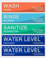 Compartment Sink Stickers - Wash, Rinse, Sanitize