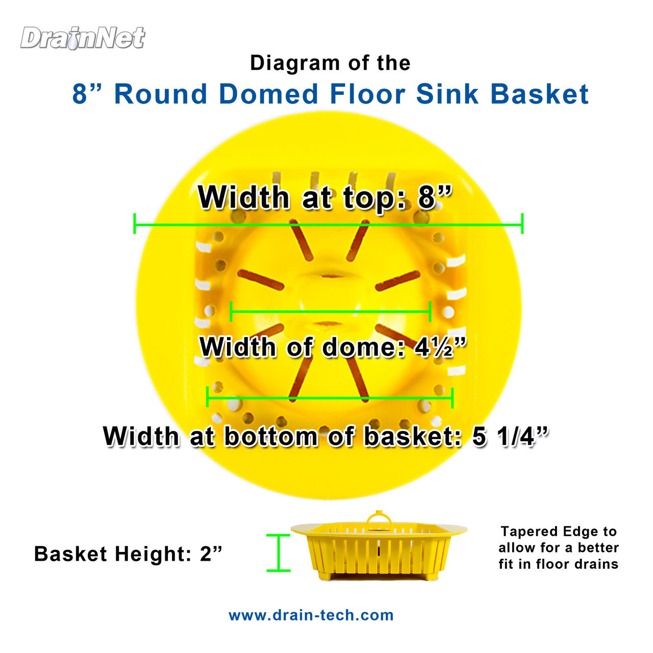 PermaDrain Round 8 inch dome basket for floor sinks