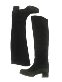 Vintage Designer Prada Black Tall Suede Leather Knee High Mod Boots