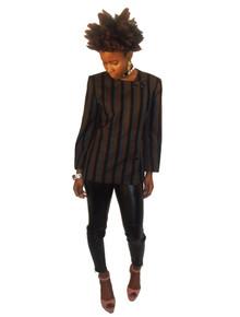Designer Tahari Vintage Black Brown Grey Stripe Buttoned Off Center Tuxedo Blazer Lined Wool Jacket