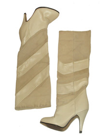 Vintage Life Stride Boho Tall Suede Leather Colorblock  Two Tone High Heel Boots