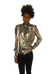 Vintage Liquid Metallic Lame Old Gold Foldover Draped Cowl Neck Pleated Slouchy Blouse