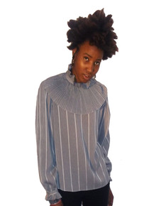 Tess Paris Milano Vertical Stripe Ruffle Pleated Buttoned Shoulder Vintage Crinkled Blouse