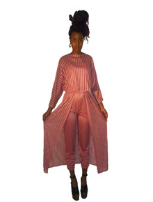 Vintage 2pc Pink Grecian Disco Strappy Jumpsuit w/ See Thru Sheer Dolman Sleeve Vertical Stripe Multifunctional Cover-up Dress