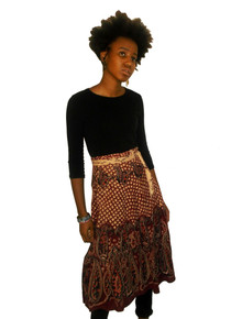 Vintage Burgundy Biege Paisley Print Ethnic Wrap Tie Waist Hippie Boho Cotton Skirt