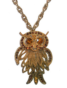 Vintage Goldtone Amber Rhinestone Layered Owl Pendant w/ Links Chain