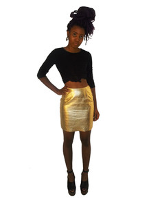 Metallic Gold Fitted Short Mini Leather Vintage Pencil Skirt