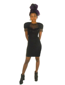 Betsy & Adam Black Crinkle Knit See Thru Sheer Front & Cut Out Back Detail Bodycon Fitted Vintage Short Mini Stretch Beaded Fringe Dress