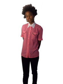 Vintage Hot Pink White Blue Polka Dot Contrast Collar Turnback Cuff Short Sleeve Buttoned Sheer Polyester Crepe Blouse