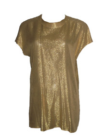 St John Vintage Gold Metallic Tissue Lame Dolman Sleeve Buttoned Back Blouse