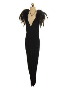 Vintage Black Plunging V-Neck Surplice Petal Curved Hemline Long Disco Gatsby American Hustle Dress