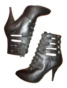 Vintage Clicks Black Above Ankle High Heel Laced Caged Snap Closure Rocker Leather Boots