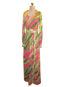 Vintage Lane Bryant Tall Shop Multicolor Psychedelic Print Long Mod Dress