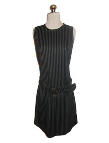 Vintage Contempo Casual Black & White Vertical Pin Stripe Sleeve Short Mini Belt Knit Dress