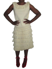Vintage Cream Sleeveless Fringe Scoop Neck Top & Matching Fitted Fringe Skirt