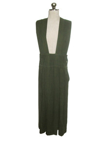 Vintage Designer Issey Miyake Plantation Green Melange Avante Garde Wide Strap Pleated Jumper Dress