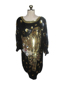 Vintage Black Gold Sequins Multicolor Beads Embellished Big Leopard Design Dolman Sleeve Slouchy Multifunctional Slouchy Tunic Short Dress