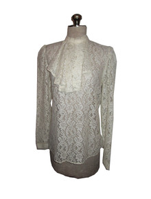 Vintage Anne Klein Cream See Thru Mesh Lace Detachable Pleated Ascot Flounce Blouse