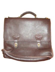 Vintage Jack Georges Handmade Original Brown Gold University Collection Double Flap Over With 2 Turnlocks Multifunctional Attache Unisex Bag