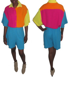 Vintage Multicolor Colorblock Cotton Gauze Romper Jumpsuit