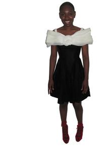 Vintage Jessica McClintock Gunne Sax Off Shoulder Organza Velvet Flared Short Mini Dress