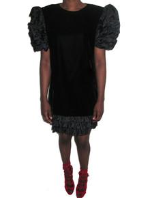 Vintage Maggy London By Jeannene Booher Black Origami Ruffle Tier Short Mini Velvet Dress