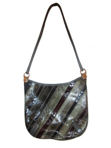 Vintage Varon Multicolor Snake Skin Crescent Shape Leather Handbag
