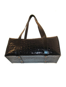 Vintage Ami Design Collection Black Embossed Leather Big Rectangular Handbag