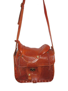 Vintage Rare Hippie Boho Western Tooled Engraved Saddle Shaped Tan Crossbody Leather Handbag