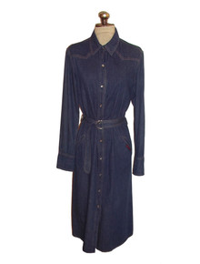 Vintage Designer Diane Von Furstenberg Rare Blue Denim Jeans Shirt Dress w/ Matching Belt