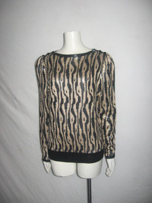 Vintage St  John Animal Print Sequins Dots Buttoned Shoulder Pullover Sweater