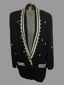 Vintage Black Pearl Beads Soutache Trim Slouchy Tuxedo Blazer Jacket Dress