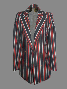 Vintage White Red Denim Blue Vertical Stripe Long Sleeve Double Breast Fitted Tuxedo Blazer Jacket