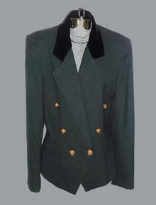 Vintage Dana Buchman Wool Velvet Combo Fitted Tuxedo Blazer Jacket w/ Decorative Button