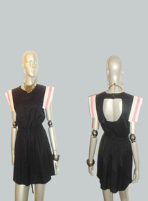 POYZA Black Pink Cream Colorblock Overlay Sleeve Cutout Back Short Mini Dress w/ Belt