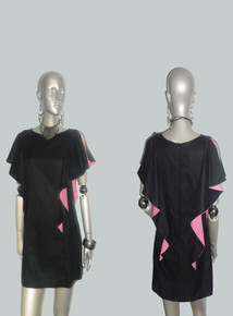 POYZA Black Pink Colorblock Cascade Flounce Short Mini Dress