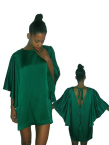 POYZA Green Hammered Silk Cut Out Tie Neck Angel Sleeve Short Mini Dress