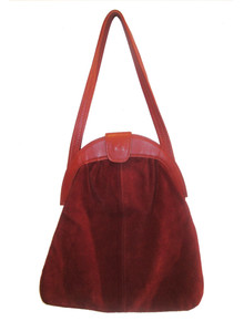 Vintage Large Cognac Pleated Suede Leather Mod Handbag w/ Coin  Purse