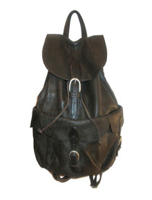 Vintage Large London Fog Dark Brown Silver Buckled Compartments Drawstring Unisex Leather Back Pack