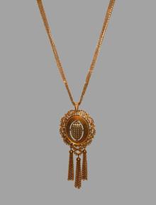 Vintage Monet Goldtone Large Pendant Engraved Beaded Strands Fringe Chain Necklace